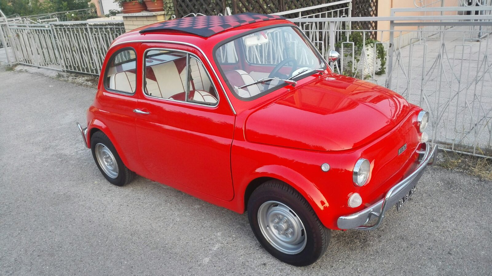 1969 fiat 500 110 f italian vintage car red extra luxury upholstery. Black Bedroom Furniture Sets. Home Design Ideas